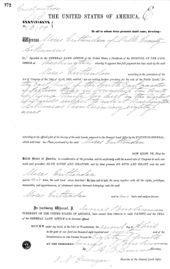 Copy of Moses Land Patent