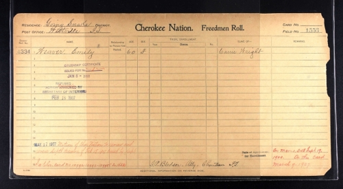 Emily Crittenden Weaver Dawes Census Card