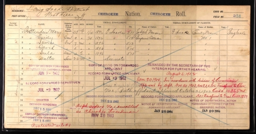 Mary Weaver Crittenden Dawes Census Card 3