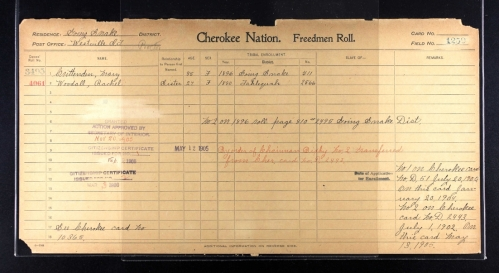 Mary Weaver Crittenden Dawes Census Card