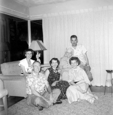 Maternal Grandmother Eliza Jane Critteden West wtih her Adult Children about 1952